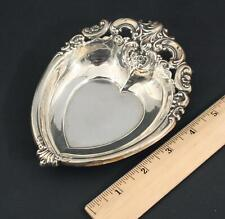 Antique Circa 1940s Wallace Grande Baroque Sterling Silver Heart Bowl Dish, NR