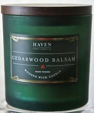 HAVEN STREET CANDLE CO CEDARWOOD BALSAM WOODEN WICK SOY WAX GREEN GLASS JAR NEW