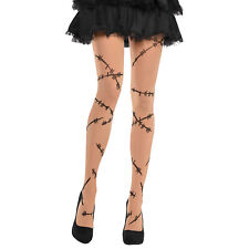 Adults Stitched up Monster Bride Zombie Halloween Fancy Dress Accessory Tights