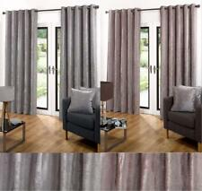1 PAIR OF STUNNING VELVET ANIKA EYELET HEADER LINED CURTAINS - TWO COLOURS