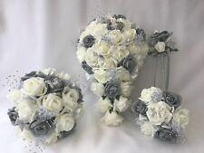 Wedding Flowers Ivory Rose Grey posy Bouquet Bride, Bridesmaid, Flower-Girl Wand