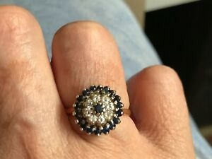 Antique 18ct Solid Gold Sapphire and Diamond Cluster Ring UK Size R, 4.7g