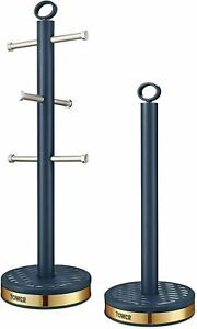 Tower Empire Mug Tree & Kitchen Roll Holder Weighted Base Midnight Blue & Gold