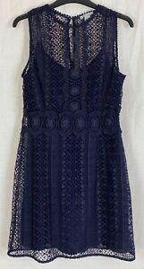 H&M Womens Navy Blue Floral Sleeveless Dress Size 12