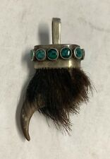 Vintage Navajo Silver & Turquoise Bear Claw Charm