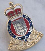 ROYAL AUSTRALIAN ARMY ORDNANCE CORPS LAPEL BADGE ENAMEL & GOLD PLATED 25MM HIGH