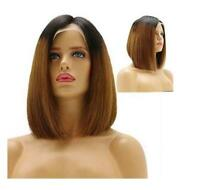 Short Bob Lace Front Wig Ombre Brown Synthetic Hair Heat Safe Glueless Full Wigs