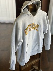 Notre Dame Champion Sweatshirt Reverse Weave 80s Mens XL Grey Vintage hoodie