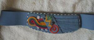 """Vintage 80""""s handmade  Women's denim stretch Belt"""