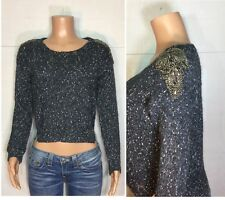 Guess Women's Xsmall Sweater Blue Rhinestone Knit Cropped Top Casual