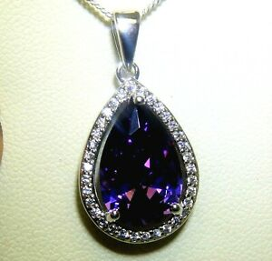 """Silver Amethyst  Pendant Diamond Cluster 925 Sterling Silver 18"""" Chain Necklace"""
