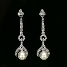 Ladies Beautiful Long Drop White Pearl Crystal Earrings Dangle Party 210