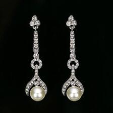 Ladies Beautiful Long Drop White Pearl Crystal Earrings, Dangle, Diamante, Party
