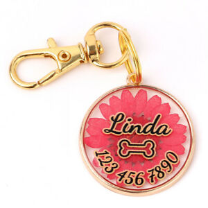 Personalized Pet Dog Cat ID Tag Custom Round Dried Flower Pendant Charm Necklace