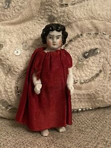 """Antique German 3"""" Frozen Charlotte China Doll With Red Silk Dress"""