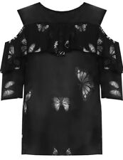 Ladies Plus Size Cold Shoulder Butterfly Print Short Sleeve Chiffon Blouse Top