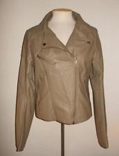 SHINESTAR SIZE X-LARGE KHAKI GREEN ASYMMETRICAL FRONT ZIPPER FAUX LEATHER JACKET