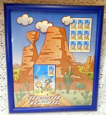 Wile E. Coyote/Road Runner Framed Art with U.S. Postal Service Postage Stamps
