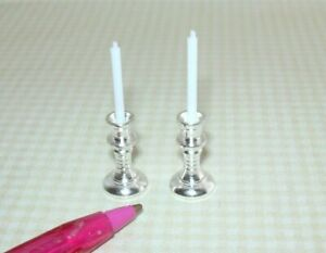 Miniature Pair Sturdy SILVER Candlesticks w/White Candles DOLLHOUSE 1:12