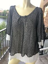 Blouse Boho Hippie Tiered Large Black crochet sequin Sleeves Stretch Sparkly