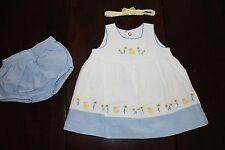 LOT Infant Girls Navy Boutique Garden Chiffon Daisy Duck Dress 3pc set outfit 3m
