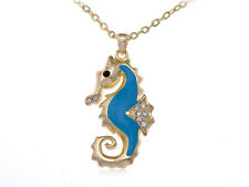 Cute Gold Tone Clear Rhinestone Crystal Blue Enamel Sea Horse Pendant Necklace
