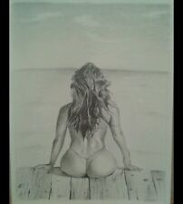 Pencil drawings of topless outdoor 3