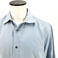 Robert Graham XL Mens Blue Button Down Shirt Flip Cuff Long Sleeve