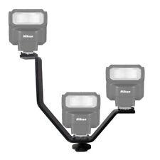 V Shape Triple Mount Hot Shoe Flash Bracket For Speedlite DSLR Camera Mic Holder