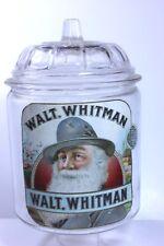 Antique WALT WHITMAN TobaccoJar Paper Label Factory No. 64 Dist. of N.C.  RARE!