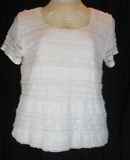 Womens Lace Knit Tee Top Plus Size 2X Dressbarn White Floral Ruffled Stretch