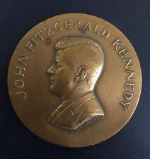 """PRESIDENT JOHN F. KENNEDY COPPER COMMEMORATIVE DESK PLAQUE WITH STAND """"RARE"""""""