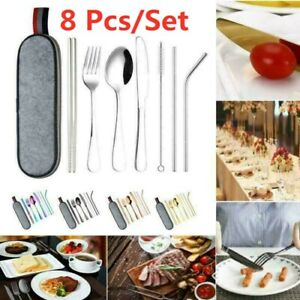 8 Pcs Stainless Steel Cutlery Set Flatware Travel Dining Kitchen Tableware &Case