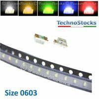 10x LED SMD 0603 Ultraluminosi bianco, blu, rosso, verde, arancio Super Bright