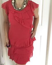 COUNTRY ROAD WOMENS DRESS RED SILK LINED TIARED WORK SHORT SZ 10