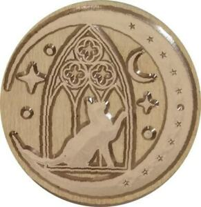 """Cat in front of Gothic Window, Reaching toward Moon Wax Seal Stamp, 1.2"""" dia."""