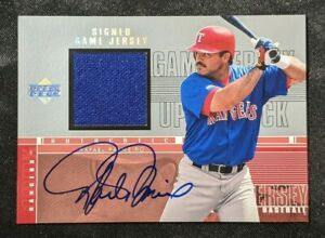 Rafael Palmeiro 2000 UD H-RP Signed Game Used Jersey AUTO Rangers Baseball Card