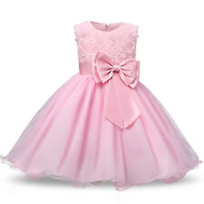 5d8d2eec2 Girl Bridesmaid Dress Baby Flower Kid Party Rose Bow Wedding Dresses  Princess UK