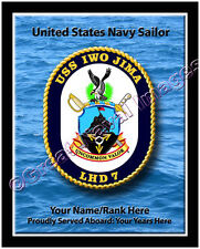 USS Iwo Jima LHD 7 Personalized Ship Crest Print on Canvas 2D Effect