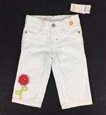 Gymboree White Denim Capri Pants Girls Size 4 Pink Flower Appliqué 100% Cotton