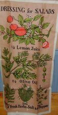 2 Vintage linen ? kitchen  tea towels maple syrup & dresssings for salad EUC