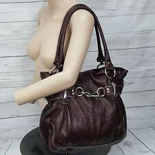B Makowsky brown leather silver hardware tote shoulder bag satchel purse