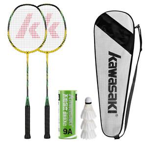 KAWASAKI 2 Player Badminton Set With 3 Feather Shuttlecocks Racquet And Bag