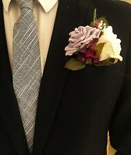 Wedding buttonholes, artificial rose corsage, wrist corsage, calla-lilies, peach
