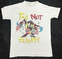 Vintage 90s Looney Tunes T Shirt Taz Not Sleepy Tasmanian Devil Hip Hop Rap Tee