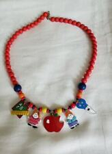 Colorful Wooden Beaded Necklace  Wood Beads- Red with  pendants