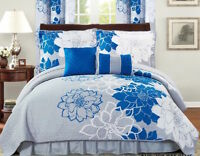 Six (6) Piece Printed Floral Comforter Set-Blue and Grey-Queen Size