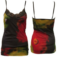 GREEN COSMOS STRAPPY VEST TOP CAMISOLE GOTHIC ALTERNATIVE SIZE 6-8