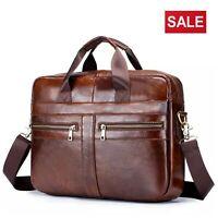 Mens Briefcase Real Leather Laptop Messenger Shoulder Bag Work Travel Handbag