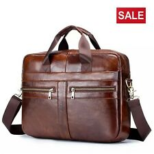 Men's Briefcase Real Leather Laptop Messenger Shoulder Bag Work Travel Handbag